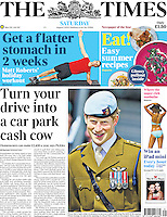 The Times Page One: Prince Harry opens a Royal Navy centre in Devonport, Plymouth, UK, on the 2nd August 2013.<br /> <br /> Picture by James Whatling