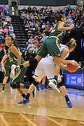 April 4, 2016; Indianapolis, Ind.; Adriana Dent goes over the back of Nicole Hampton after going for a trap in the NCAA Division II Women's Basketball National Championship game at Bankers Life Fieldhouse between UAA and Lubbock Christian. The Seawolves lost to the Lady Chaps 78-73.