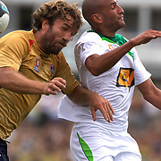 Ljubo Milicevic and Dyron Daal (right) in action during the Newcastle Jets V North Queensland Fury  A-League match at Energy Australia Stadium, Newcastle, Australia, 20 December 2009. Photo Tim Clayton