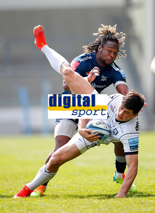 Caption Template Rugby Union - 2020 / 2021 Gallagher Premiership - Round 16 - Sale Sharks vs Gloucester - AJ Bell Stadium<br /> <br /> Marland Yarde of Sale Sharks  and Louis Rees-Zammit of Gloucester Rugby<br /> <br /> Credit COLORSPORT/LYNNE CAMERON