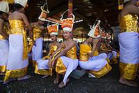 Dancers at the Pura Besakih Temple on Bali, Indonesia.