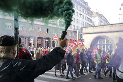 October 9, 2018 - Strasbourg, FRANCE - Demonstrators protest during a one-day nationwide strike over French President Emmanuel Macron's policies on October 9, 2018 in Strasbourg, eastern France. (Credit Image: © Panoramic via ZUMA Press)