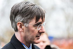 """Prominent Leave and """"Hard Brexit"""" campaigner Jacob Rees-Mogg MP addresses the media on College Green, opposite the Houses of Parliament. London, January 15 2019."""