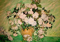 National Gallery, Washington DC. Painting of white roses by Van Gogh