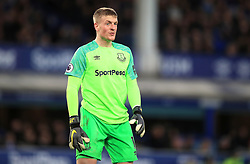 Everton goalkeeper Jordan Pickford in action during the Premier League match at Goodison Park, Liverpool.