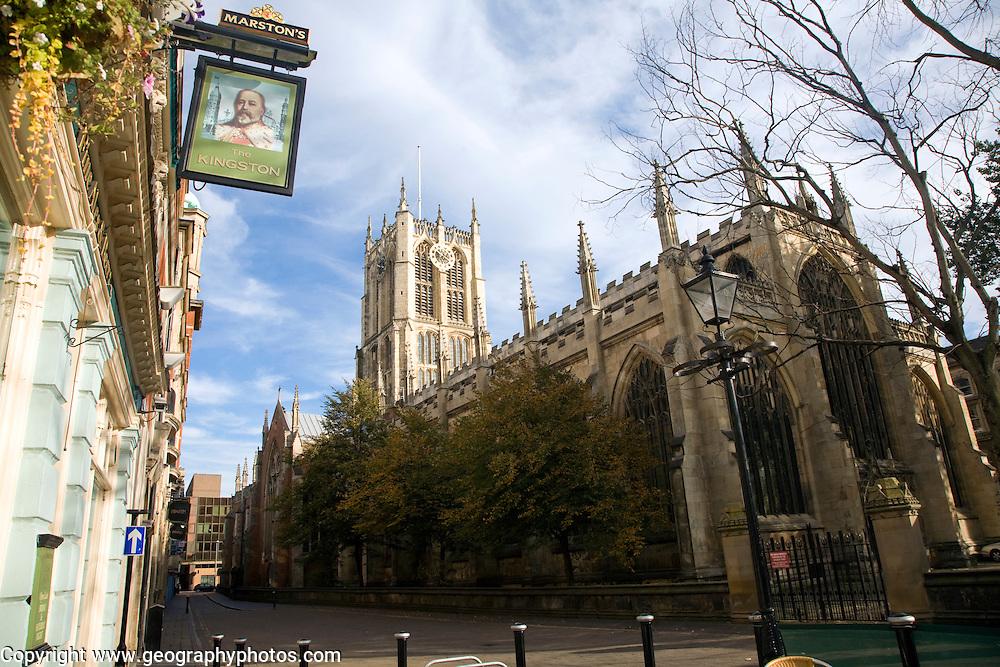 Holy Trinity church and the Kingston pub, Hull, Yorkshire, England