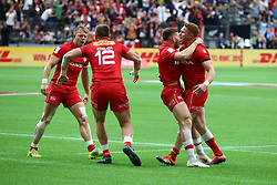 March 9, 2019 - Vancouver, BC, U.S. - VANCOUVER, BC - MARCH 09:  Team Canada celebrate a win over Team Fiji during day 1 of the 2019 Canada Sevens Rugby Tournament on March 9, 2019 at BC Place in Vancouver, British Columbia, Canada. (Photo by Devin Manky/Icon Sportswire) (Credit Image: © Devin Manky/Icon SMI via ZUMA Press)