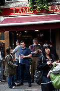 Drinkers outside the famous Lamb & Flag pub. Covent Garden in the West End of London.