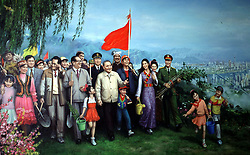 China, BEIJING - December 18, 2018.Forty years ago Deng Xiaoping and the Chinese Communist Party turned their backs on Maoism and embarked on a reform program that led to the most remarkable period of wealth creation the world has ever seen..Painting (The new spring time) with Deng XiaoPing and Jiang Zemin at  China Art Gallery. (Credit Image: © Antonio Pisacreta/Ropi via ZUMA Press)