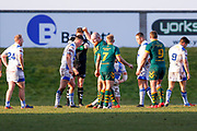 Hunslet Club Parkside prop Jamie Fields (10) celebrates his try during the Ladbrokes Challenge Cup round 3 match between Hunslet Club Parkside and Workington Town at South Leeds Stadium, Leeds, United Kingdom on 24 February 2018. Picture by Simon Davies.