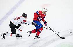 Reto Schappi of Switzerland vs Mats Rosseli Olsen of Norway during the 2017 IIHF Men's World Championship group B Ice hockey match between National Teams of Norway and Switzerland, on May 7, 2017 in Accorhotels Arena in Paris, France. Photo by Vid Ponikvar / Sportida