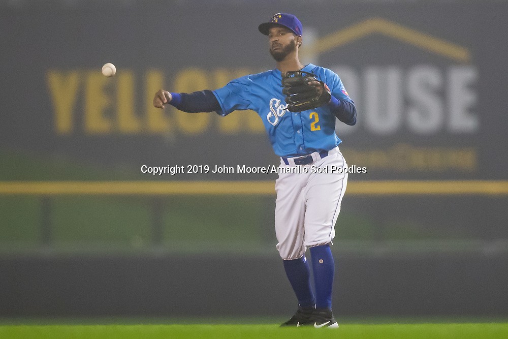 Amarillo Sod Poodles infielder Ivan Castillo (2) throws the ball against the Midland RockHounds on Thursday, May 23, 2019, at HODGETOWN in Amarillo, Texas. [Photo by John Moore/Amarillo Sod Poodles]