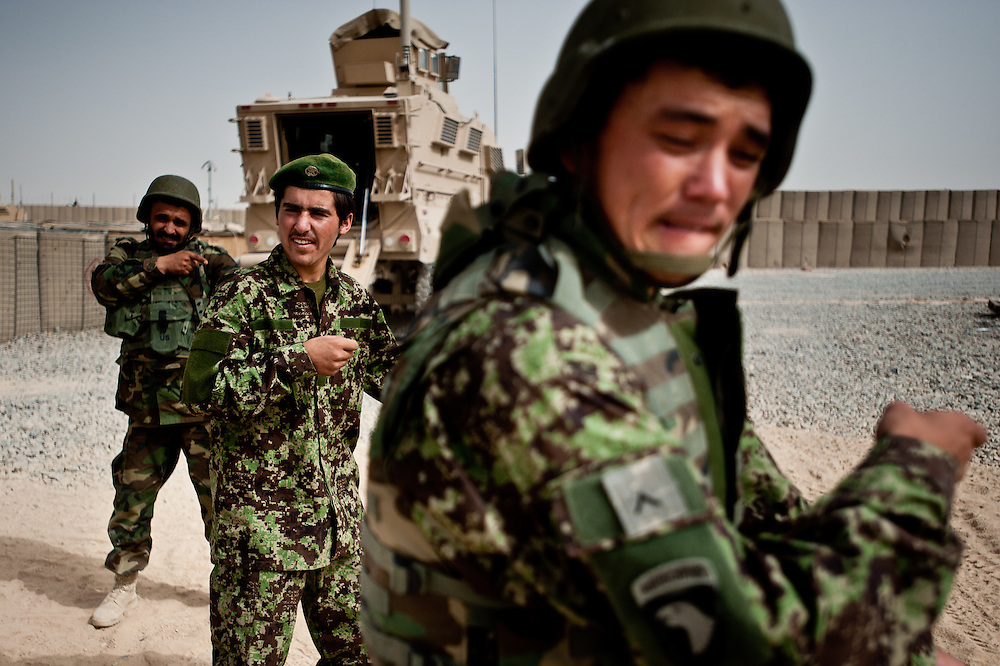 Afghan National Army soldiers train with the U.S. Army on Combat Outpost Terminator.