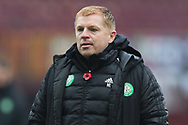 Neil Lennon (Celtic) looks stressed during the Scottish Premiership match between Motherwell and Celtic at Fir Park, Motherwell, Scotland on 8 November 2020.