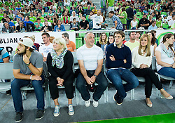 Family Kopitar: Gasper, mother Mateja, father Matjaz, Anze Kopitar and his wife Ines during friendly basketball match between National Teams of Slovenia and Brasil at Day 2 of Telemach Tournament on August 22, 2014 in Arena Stozice, Ljubljana, Slovenia. Photo by Vid Ponikvar / Sportida
