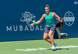 August 5, 2018 - San Jose, CA, U.S. - SAN JOSE, CA - AUGUST 05: Maria Sakkari (GRE) places a forehand during the WTA Singles Championship at the Mubadala Silicon Valley Classic  at the San Jose State University Stadium Court in San Jose, CA  on Sunday, August 5, 2018. (Photo by Douglas Stringer/Icon Sportswire) (Credit Image: © Douglas Stringer/Icon SMI via ZUMA Press)