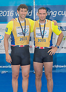 Lucerne, SWITZERLAND,  2016 FISA WCII, Men's Pair Final GBR M2-  Bow Nathanial O'REILLY-O'DONNELL and Matt TARRANT. silver medalist, Lake Rotsee Lake Rotsee, Sunday, 29/05/2016,<br /> [Mandatory Credit; Peter SPURRIER/Intersport-images]