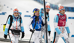 February 17, 2018 - Pyeongchang, South Korea - Finland's team walks off the finish dejected following the  action in which they did not medal during the Ladies' 4 x 5km Relay at the Alpensia Cross-Country Center during the 2018 Pyeongchang Winter Olympic Games. (Credit Image: © Daniel A. Anderson via ZUMA Wire)