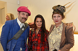 Left to right, GAVIN TURK, BIP LING and DEBORAH CURTIS  at a party to celebrate the collaboration of J&M Davidson and Tanya Lingheld at J&M Davidson, 104 Mount Street, London on 18th October 2016.