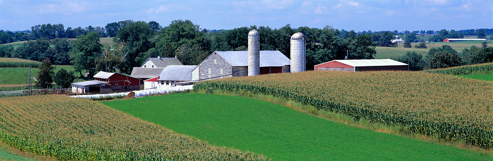 A tidy farm in rural Gortner, in western Maryland, sits amidst the green hills and fields.