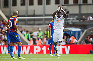 Tammy Abraham of Swansea City celebrates after he scores his his teams 1st goal.<br /> Premier League match, Crystal Palace v Swansea city at Selhurst Park in London on Saturday 26th August 2017.<br /> pic by Kieran Clarke, Andrew Orchard sports photography.