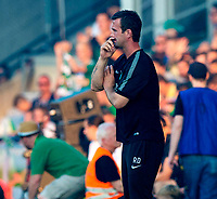 06/07/14 PRE-SEASON FRIENDLY<br /> RAPID VIENNA V CELTIC<br /> GERHARD HANAPPI STADIUM - AUSTRIA<br /> Celtic manager Ronny Deila looks on from the dugout.