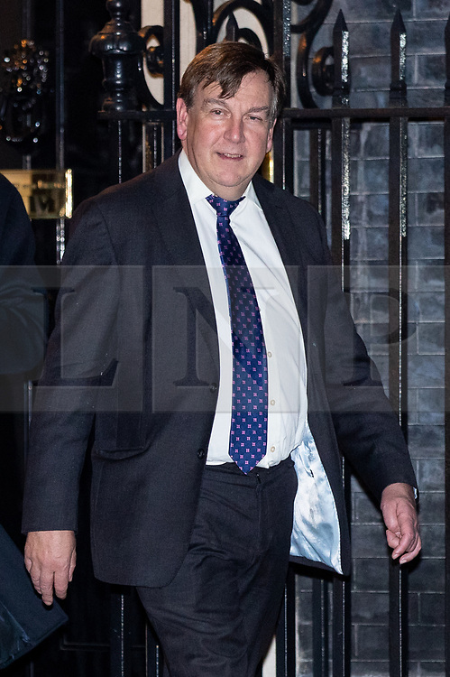 © Licensed to London News Pictures. 07/01/2019. London, UK. John Whittingdale MP leaving 10 Downing Street after attending a drinks reception in Number 10. British Prime Minister Theresa May is currently trying to persuade MPs to back her Brexit withdrawal deal. MPs will be debating the issue this week, with the postponed vote taking place on Tuesday 15th January. Photo credit : Tom Nicholson/LNP