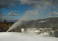 Over the rainbow and into 2013 as the temperatures drop down to ideal snow making conditions at Gunstock Mountain Resort on Wednesday afternoon.  (Karen Bobotas/for the Laconia Daily Sun)