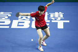 February 23, 2018 - London, England, United Kingdom - Song I KIM of DPR Korea during ITTF Team World Cup match between Ching I CHENG of Chinese Taipei and Song I KIM of DPR Korea, Quarter Finals Women doubles match on February 23, 2018 in Copper Box Arena, Olympic Park, London. (Credit Image: © Dominika Zarzycka/NurPhoto via ZUMA Press)