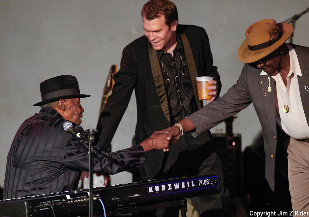 Pinetop Perkins and Little Frank (center) perform in South Bend, Indiana.