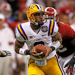 Jan 9, 2012; New Orleans, LA, USA; LSU Tigers quarterback Jordan Jefferson (9) in action against the Alabama Crimson Tide during the second half of the 2012 BCS National Championship game at the Mercedes-Benz Superdome.  Mandatory Credit: Derick E. Hingle-US PRESSWIRE