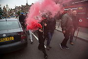 Class War march on Boris Johnson's house in Islington on Friday 15th July in London, United Kingdom. The anarchist group organised this event weeks ago well before Boris Johnson became Foreign Secretary, which has only inflamed the anger amongst protesters.