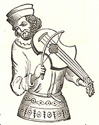 A Jongleur playing a Vielle. Engraving after a fifteenth century French manuscript.
