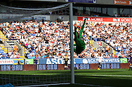 Derby County Goalkeeper Scott Carson watches as the ball hit the woodwork and bounces clear. Skybet football league championship match, Bolton Wanderers v Derby County at the Macron stadium in Bolton, Lancs on Saturday 8th August 2015.<br /> pic by Chris Stading, Andrew Orchard sports photography.