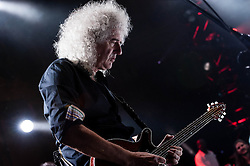"""© Licensed to London News Pictures. 16/09/2012. London, UK.  Brian May and Bruce Dickinson perform at The Sunflower Jam at the Royal Albert Hall.  Brian May is a founding member and guitarist of Queen.  The Sunflower Jam is a British charity, founded by Jacky Paice, wife of Deep Purple drummer, Ian Paice. Other high-profile supporters are the actor Jeremy Irons, ex-Jamiroquai bassist Nick Fyffe and Charles, Prince of Wales. The aims of the charity are to fund complementary therapists and spiritual healers to work on cancer wards in the British National Health Service. After setting up a meeting between members of Deep Purple and a young boy dying of leukemia, Paice saw """"all the good work the healers were doing"""" and decided """"lets find a way to raise money to get more healers in there. Photo credit : Richard Isaac/LNP"""