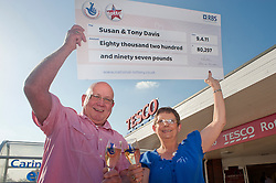 Susan and Tony Davis at the Forge Island Tesco in Rotherham where they purchased the ticket that won them £80,297..27 April 2011.Images © Paul David Drabble