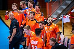 The Dutch handball player Bondscoach  Erlingur Richardsson in action during the European Championship qualifying match against Turkey in the Topsport Center Almere.