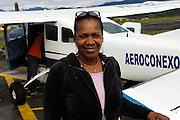 Ecuador, May 5 2010: Lorna at Shell waiting for the flight to the Huaorani Ecolodge. Copyright 2010 Peter Horrell