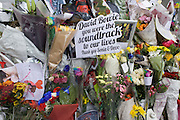 The growing shrine to musical artist David Bowie in Brixton, south London, the place of his birth in 1947.