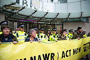 Climate activists from Exctinction Rebellion occupy the forecourt of BBC New Broadcasting House during day five of two weeks of planned demonstrations on 11th October, 2019 in London, United Kingdom. Extinction Rebellion accuse the BBC of staying silent and demand they tell the full truth about the climate crisis.