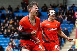 Dominic Gape of Wycombe Wanderers and Matthew Bloomfield of Wycombe Wanderers celebrate Wycombe Wanderers' second goal - Mandatory by-line: Ryan Crockett/JMP - 28/04/2018 - FOOTBALL - Proact Stadium - Chesterfield, England - Chesterfield v Wycombe Wanderers - Sky Bet League Two