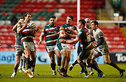 Leicester Tigers wing Kobus Van Wyk  catches a pass from Leicester Tigers centre Matías Moroni during a Gallagher Premiership Round 7 Rugby Union match, Friday, Jan. 29, 2021, in Leicester, United Kingdom. (Steve Flynn/Image of Sport)
