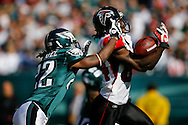 26 Oct 2008: Atlanta Falcons wide receiver Roddy White #84 attempts to pull a pass in while Philadelphia Eagles cornerback Asante Samuel #22 defends during the game against the Philadelphia Eagles on October 26th, 2008. The pass was incomplete. The Eagles beat the Falcons 27-14 at Lincoln Financial Field in Philadelphia, Pennsylvania.