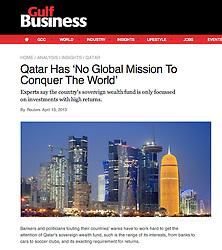 Gulf Business; Night skyline of Doha, Qatar