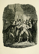 Guy Fawkes arrested by Sir Thomas Knyvet From the book ' Guy Fawkes; or, The gunpowder treason. An historical romance ' by William Harrison Ainsworth, with illustrations on steel by  George Cruikshank. Published in London, by George Routledge and sons, limited in 1841. Guy Fawkes (13 April 1570 – 31 January 1606), also known as Guido Fawkes while fighting for the Spanish, was a member of a group of provincial English Catholics who was involved in the failed Gunpowder Plot of 1605. He was born and educated in York; his father died when Fawkes was eight years old, after which his mother married a recusant Catholic.