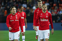 March 23, 2019 - Valencia, Valencia, Spain - Fossum and Svensson of Norway in action during European Qualifiers championship, , football match between Spain and Norway, March 23th, in Mestalla Stadium in Valencia, Spain. (Credit Image: © AFP7 via ZUMA Wire)