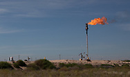 Flare at a fracking site in Big Spring Texas in the Permain Basin.