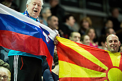 Supporters of Slovenia and Macedonia during handball match between National Teams of Slovenia and Former Yugoslav republic of Macedonia in Round #3 of EHF European Women Championship Qualifications, on March 10, 2016 in Arena Luknja, Maribor, Slovenia. Photo by Vid Ponikvar / Sportida
