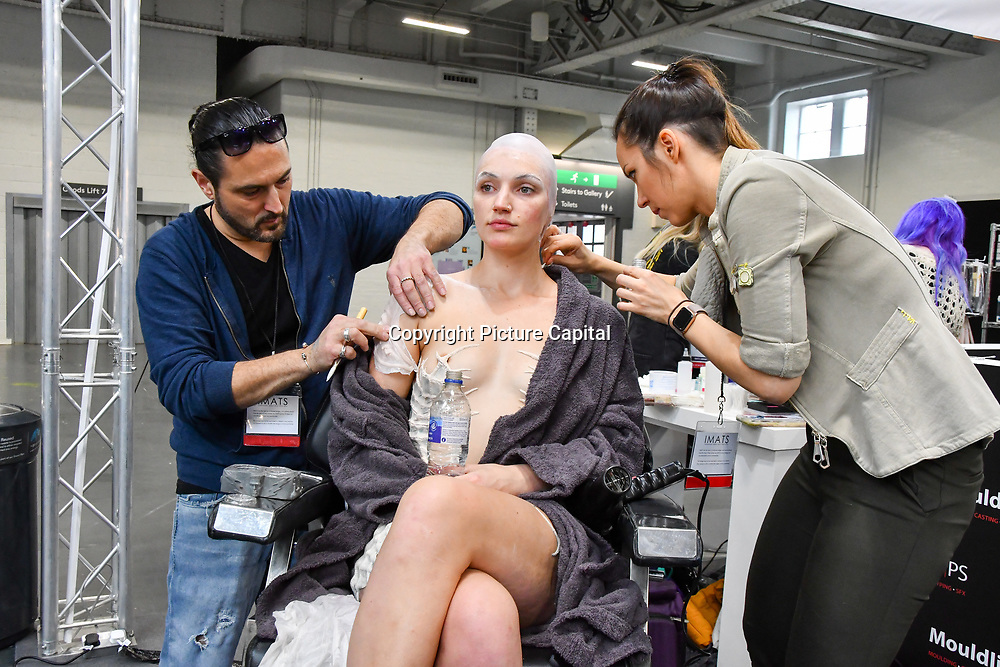 Artist Vincent De Monfreid is a make-up, Special Effects & Prosthetics demo at Mouldlife stand at IMATS London on 18 May 2019,  London, UK.