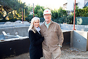 """Ed begley Jr. and Rachelle Carson-Begley. Steel framing began on 1/14/2013 over the foundation on the Begley's new home.  Ed Begley Jr. (noted actor and environmentalist) and his wife Rachelle Carson-Begley are building their new home under LEED Platinum Certified standards in an attempt to become North America's greenest, most sustainable home. It is also being filmed for their web series """"On Begley Street."""" Studio City, California, USA"""